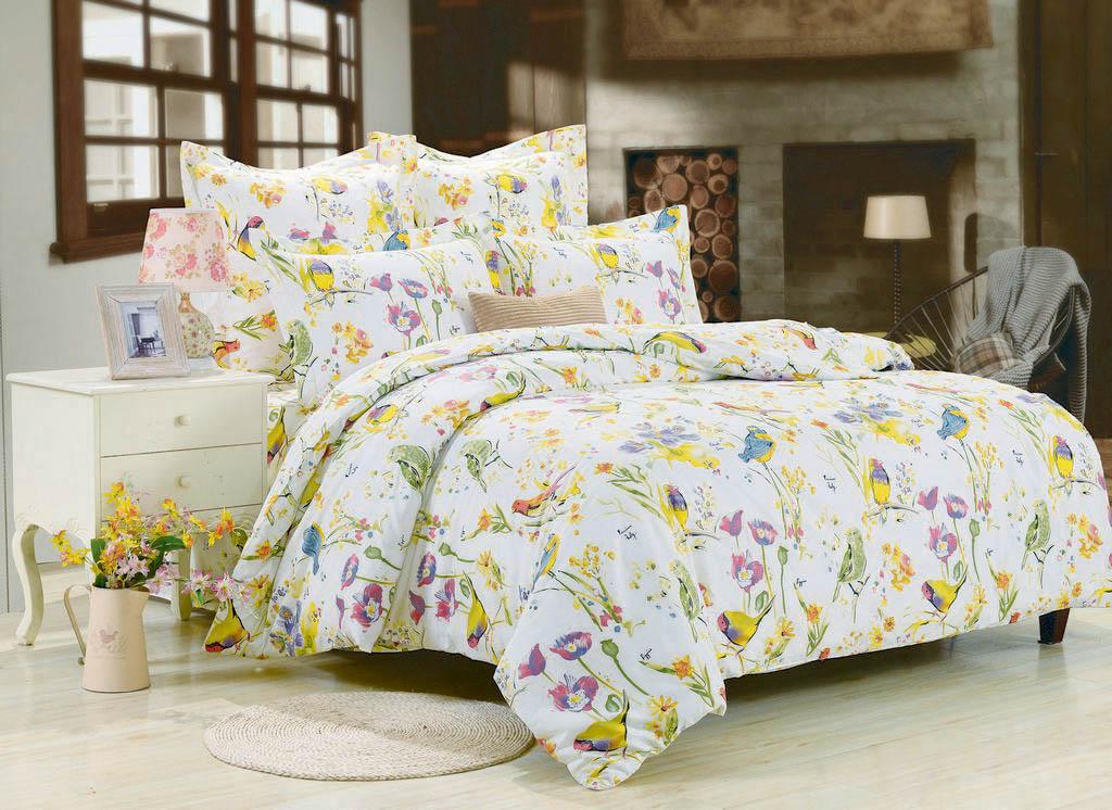 Купить Комплекты постельного белья Valtery, Постельное белье Lovely (1, 5 спал.), Китай, Голубой, Желтый, Хлопковый сатин