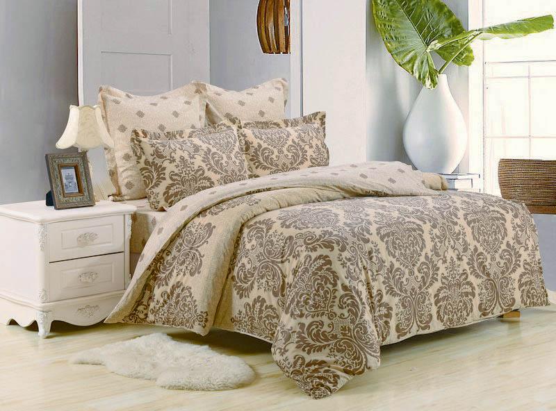 Купить Комплекты постельного белья Valtery, Постельное белье Kylie (семейное), Китай, Бежевый, Кремовый, Хлопковый сатин