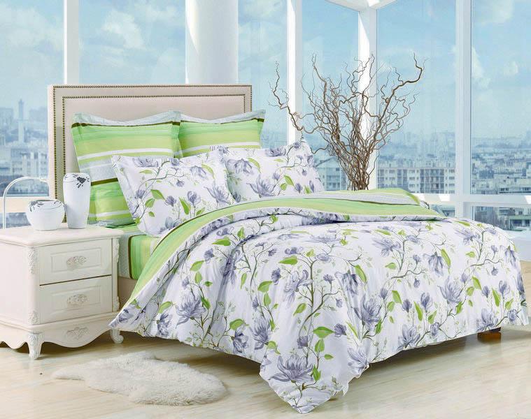 Купить Комплекты постельного белья Valtery, Постельное белье Ciara (1, 5 спал.), Китай, Зеленый, Хлопковый сатин