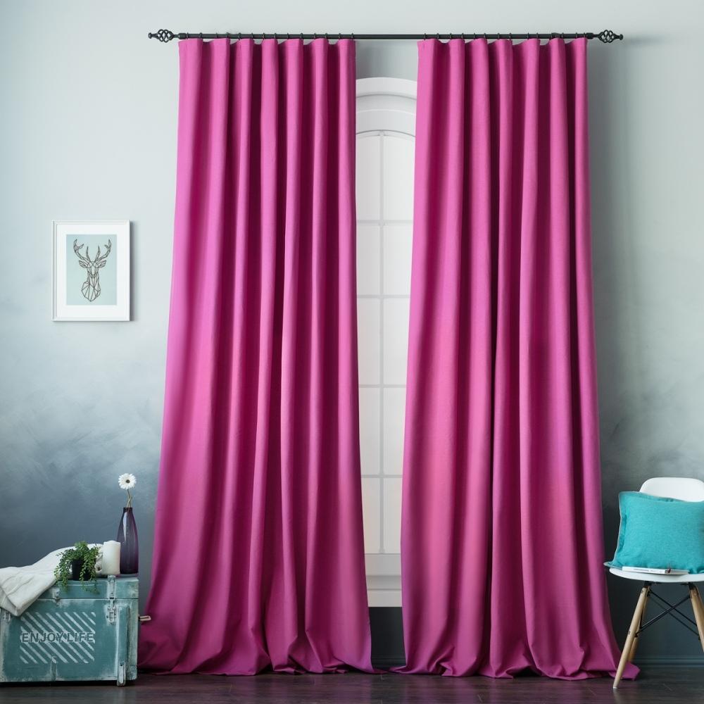 фиолетовые шторы в спальню фото