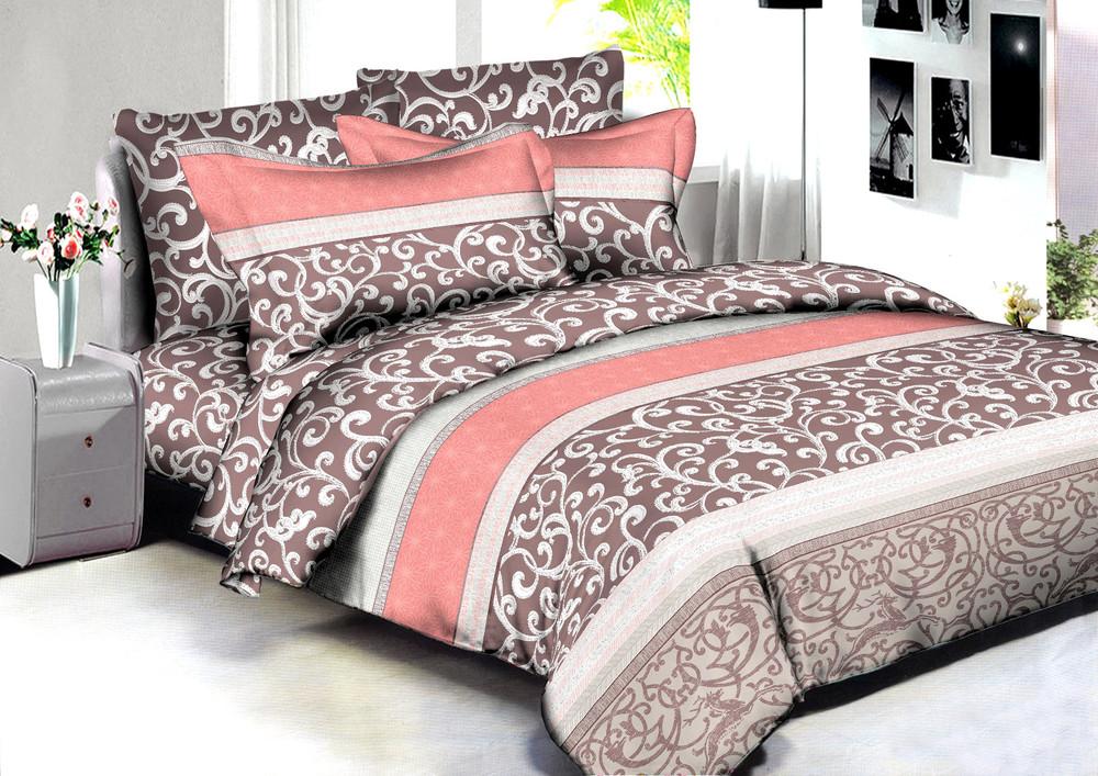 Купить Комплекты постельного белья Amore Mio, Постельное белье Pune (2 сп. евро), Китай, Коричневый, Розовый, Хлопковый сатин
