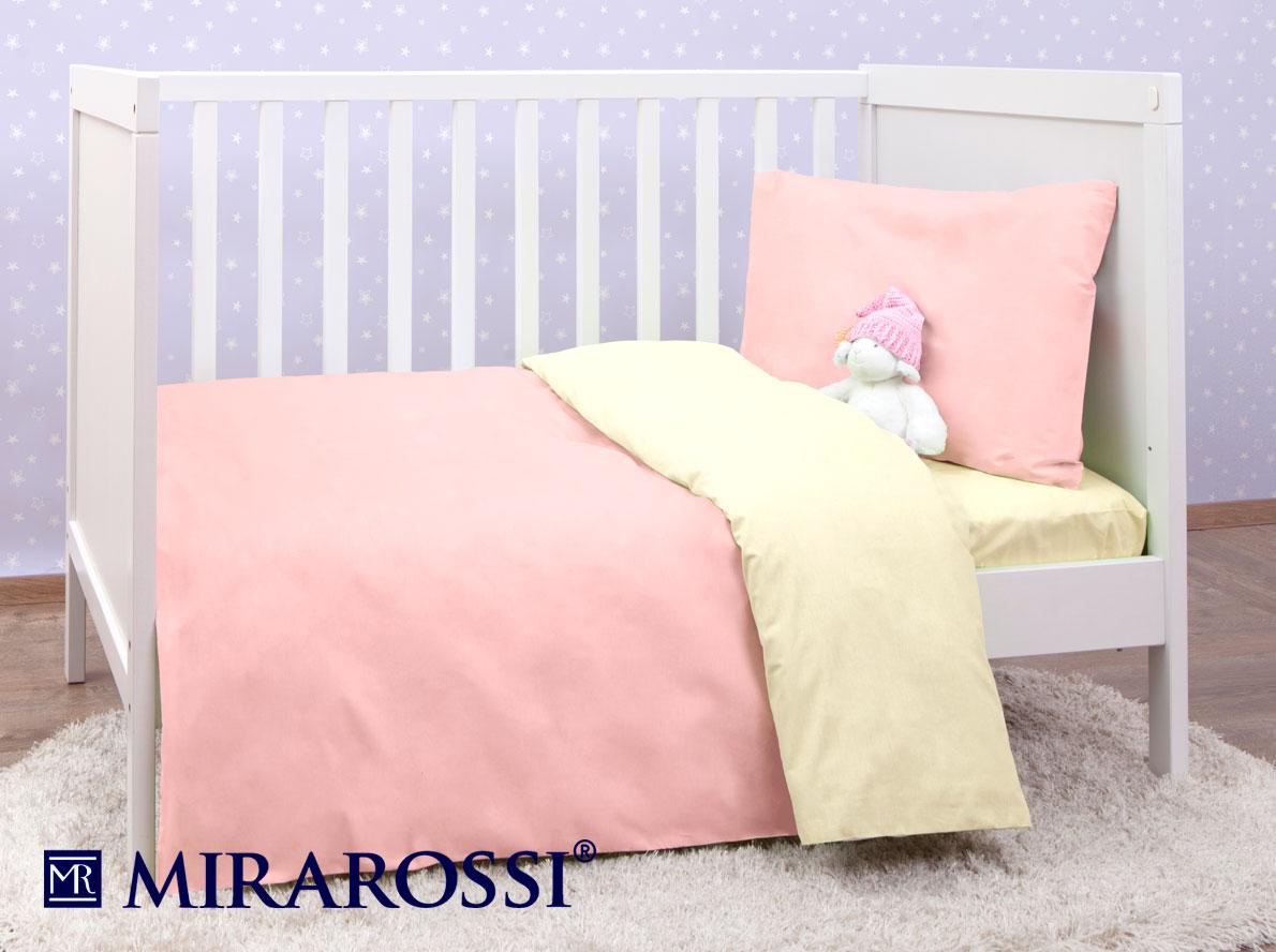 Купить Детское постельное белье MIRAROSSI, Детское Постельное белье Pinkie (115х147 см), Россия, Желтый, Розовый, Хлопковый трикотаж