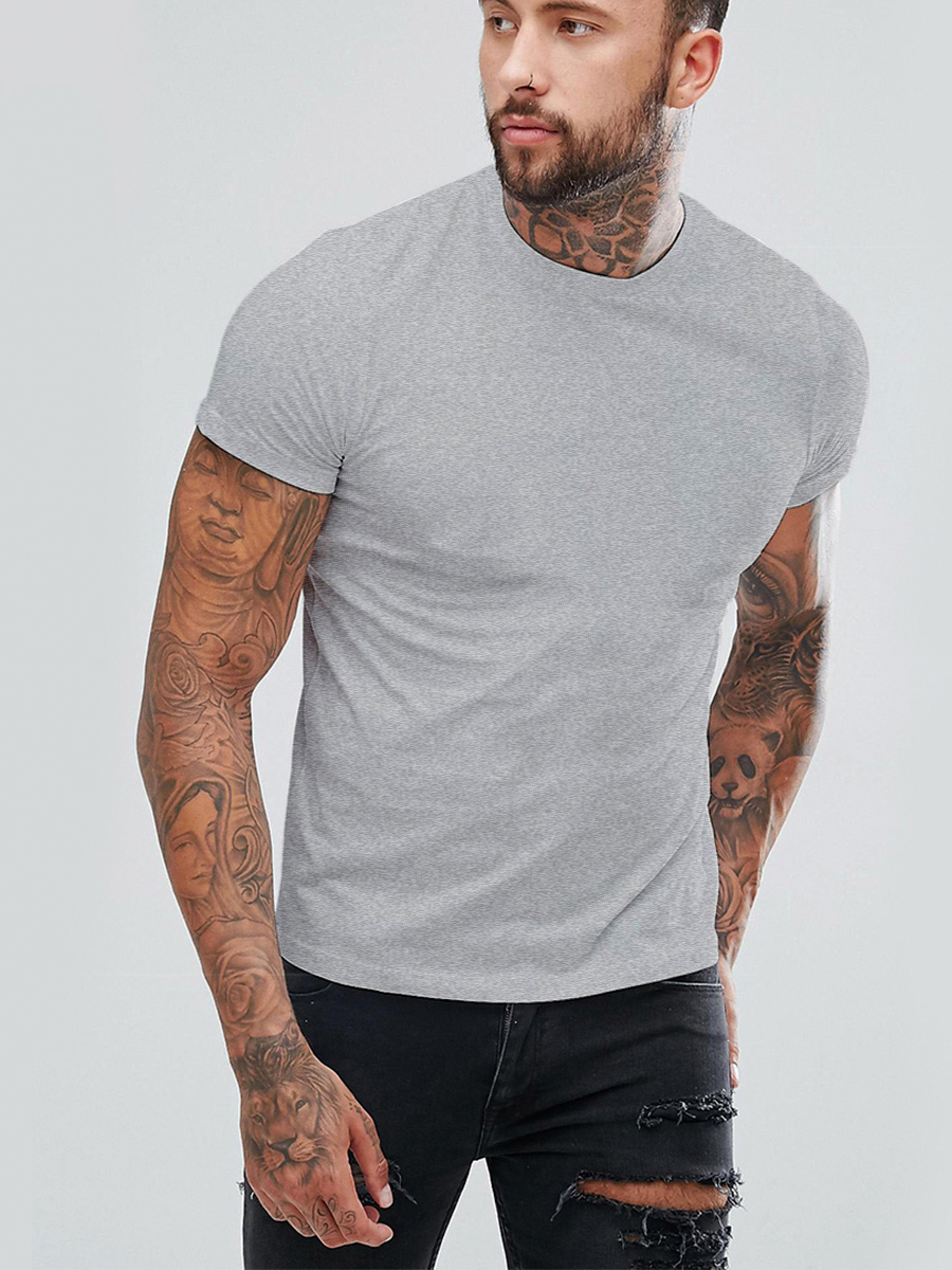 Футболка мужская Basic цвет: серый меланж (52) Eleganta ena802283