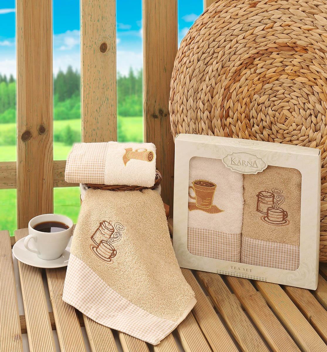 Купить Полотенца Karna, Кухонное полотенце Tea Set Цвет: Кофейный (40х60 см - 2 шт), Турция, Кремовый, Махра