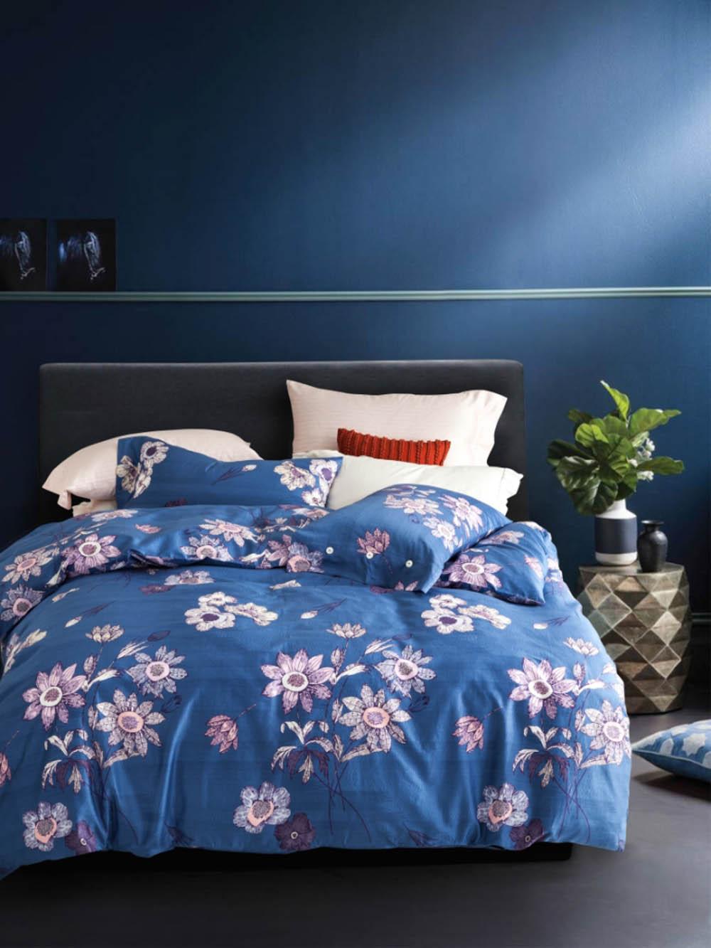 Купить Комплекты постельного белья Famille, Постельное белье Paige (2 сп. евро), Китай, Розовый, Синий, Хлопковый сатин