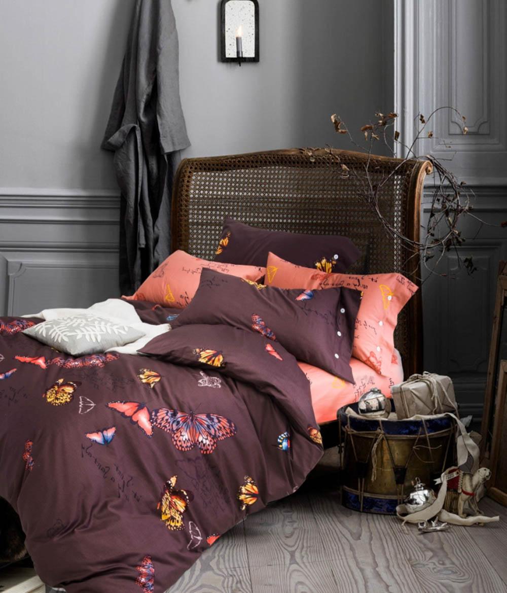 Купить Комплекты постельного белья Famille, Постельное белье Catalina (2 сп. евро), Китай, Коричневый, Розовый, Хлопковый сатин