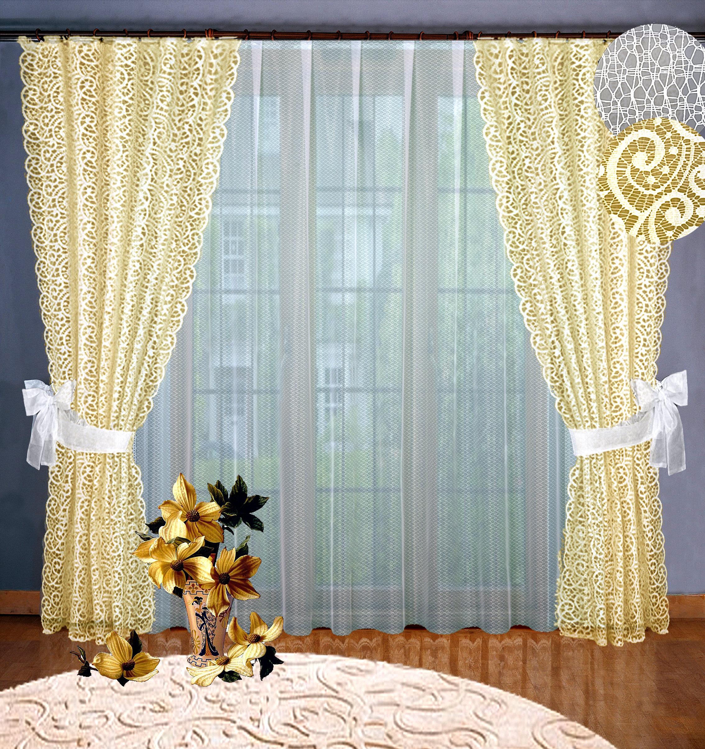 Купить Шторы Elegante, Классические шторы Carroll Цвет: Кремовый, Россия, Тюль, Жаккард