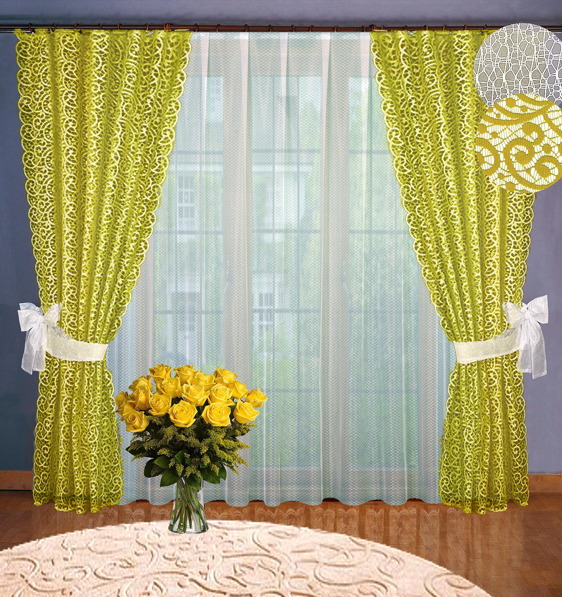 Купить Шторы Elegante, Классические шторы Rayne Цвет: Оливковый, Россия, Жаккард, Тюль