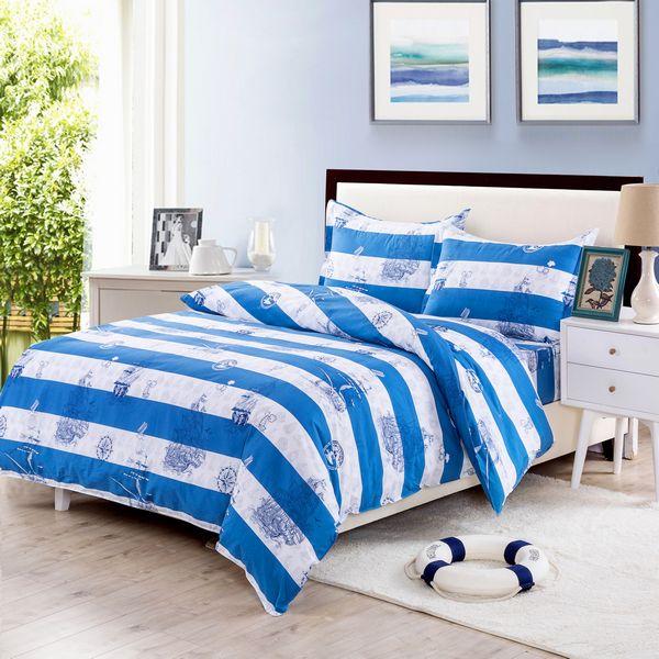 Купить Комплекты постельного белья Valtery, Постельное белье Fifi(семейное), Китай, Белый, Синий, Поплин