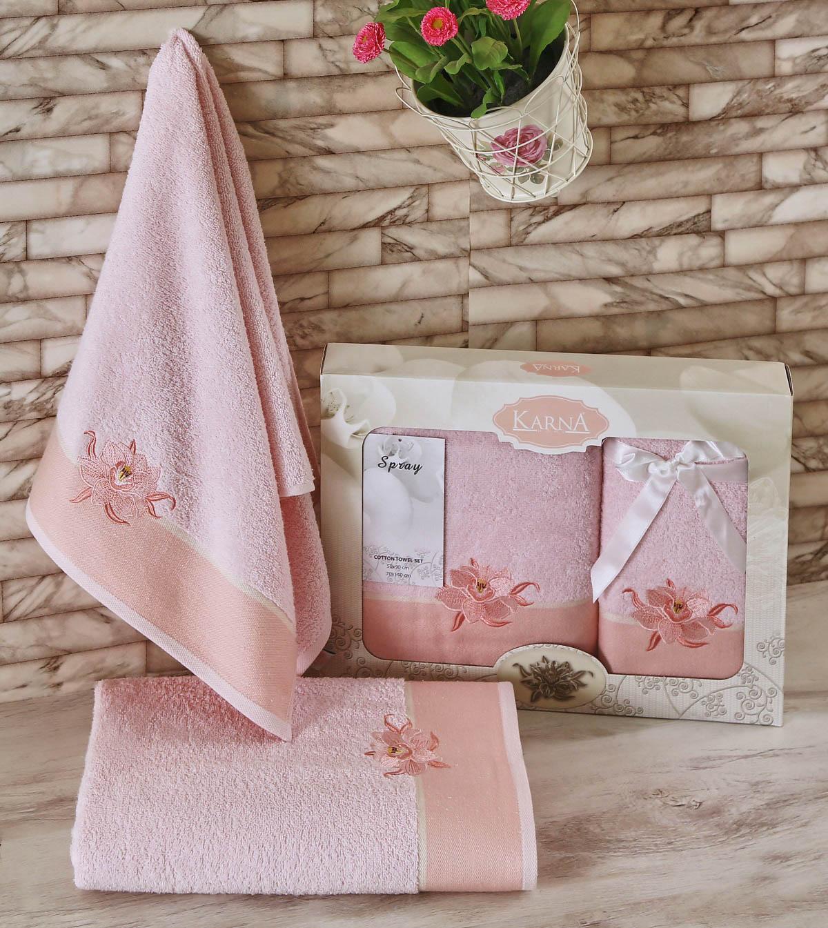 Полотенца Karna Полотенце Spray Цвет: Светло-Розовый (Набор)