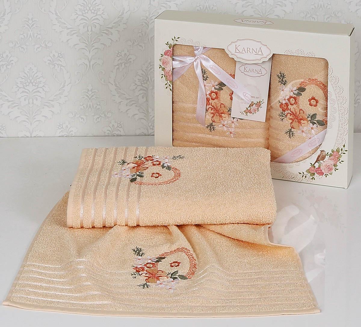 Купить Полотенца Karna, Полотенце Camile Цвет: Абрикосовый (Набор), Турция, Персиковый, Махра