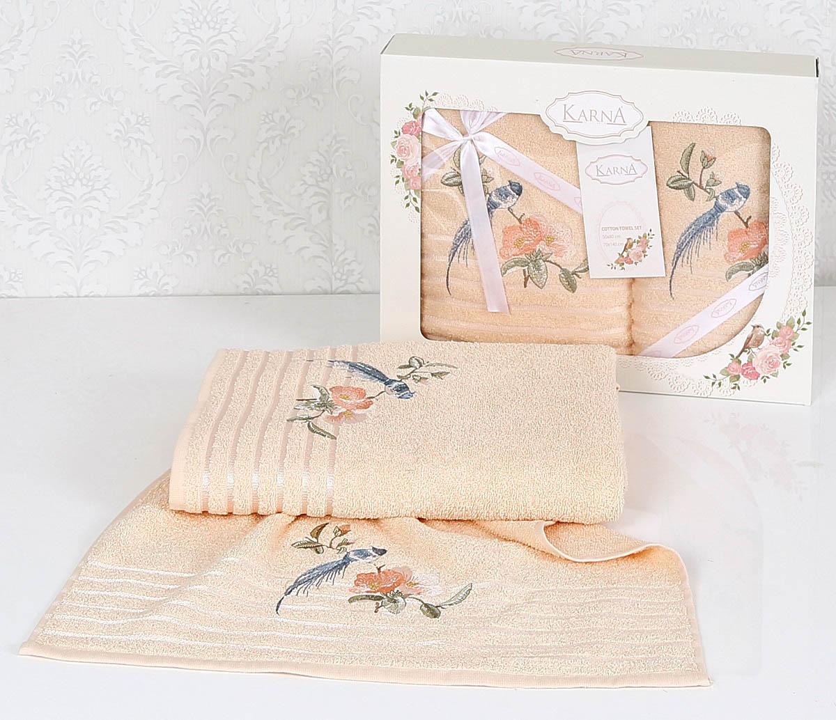 Купить Полотенца Karna, Полотенце Este Цвет: Абрикосовый (Набор), Турция, Персиковый, Махра