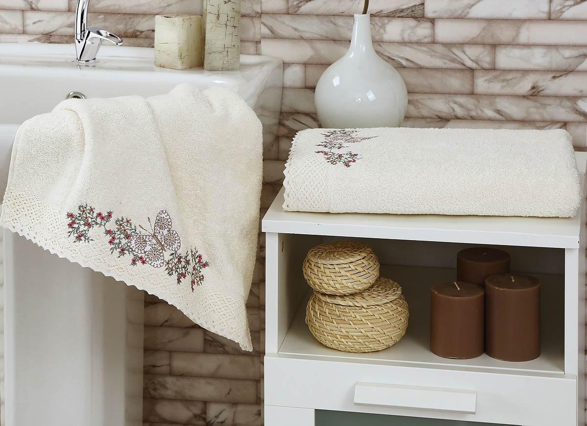Полотенца Karna Полотенце Lavore Цвет: Кремовый (Набор) полотенца karna полотенце petek цвет кремовый синий набор