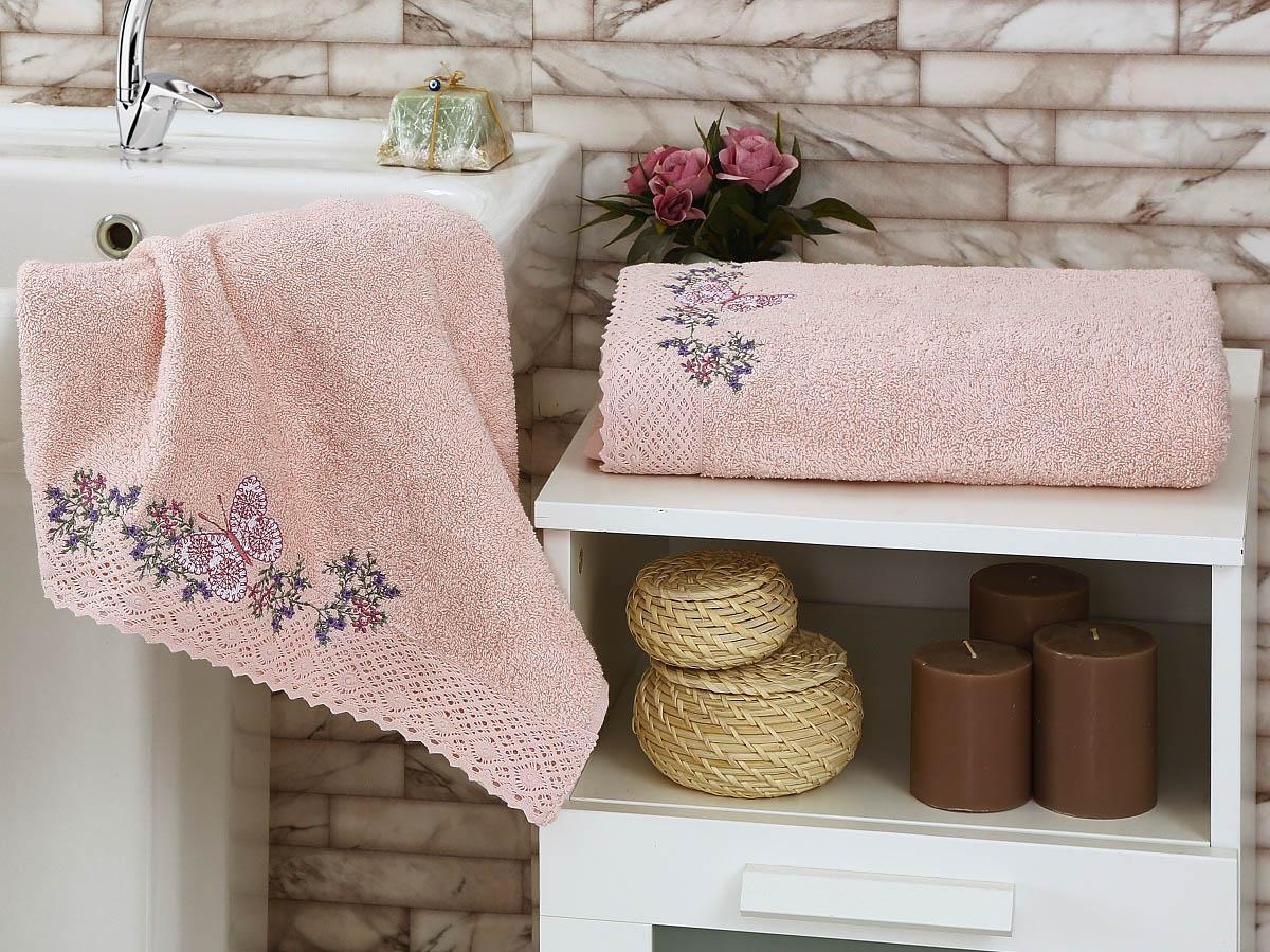 Купить Полотенца Karna, Полотенце Lavore Цвет: Пудра (Набор), Турция, Персиковый, Махра
