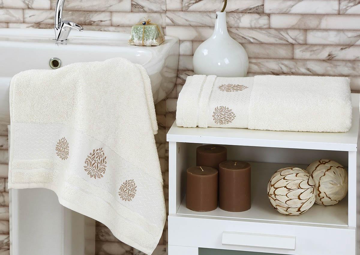 Купить Полотенца Karna, Полотенце Devon Цвет: Кремовый (Набор), Турция, Махра