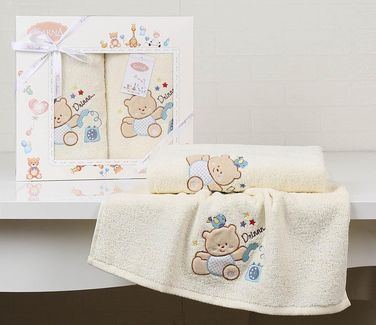 Купить Полотенца Karna, Детское полотенце Bear Цвет: Кремовый (Набор), Турция, Махра