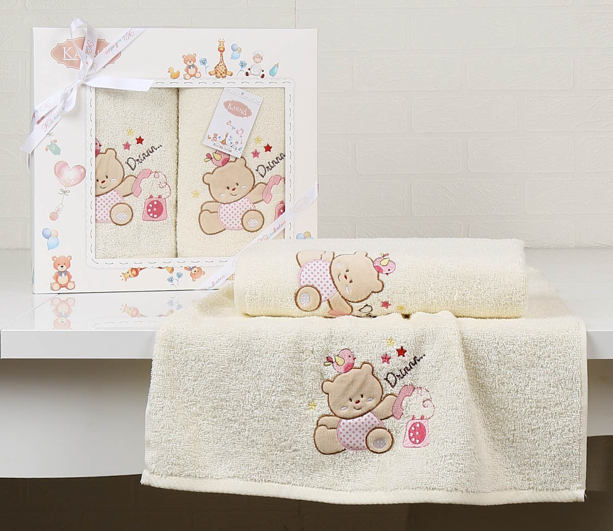Купить Полотенца Karna, Детское полотенце Bear Цвет: Mолочный (Набор), Турция, Бежевый, Махра