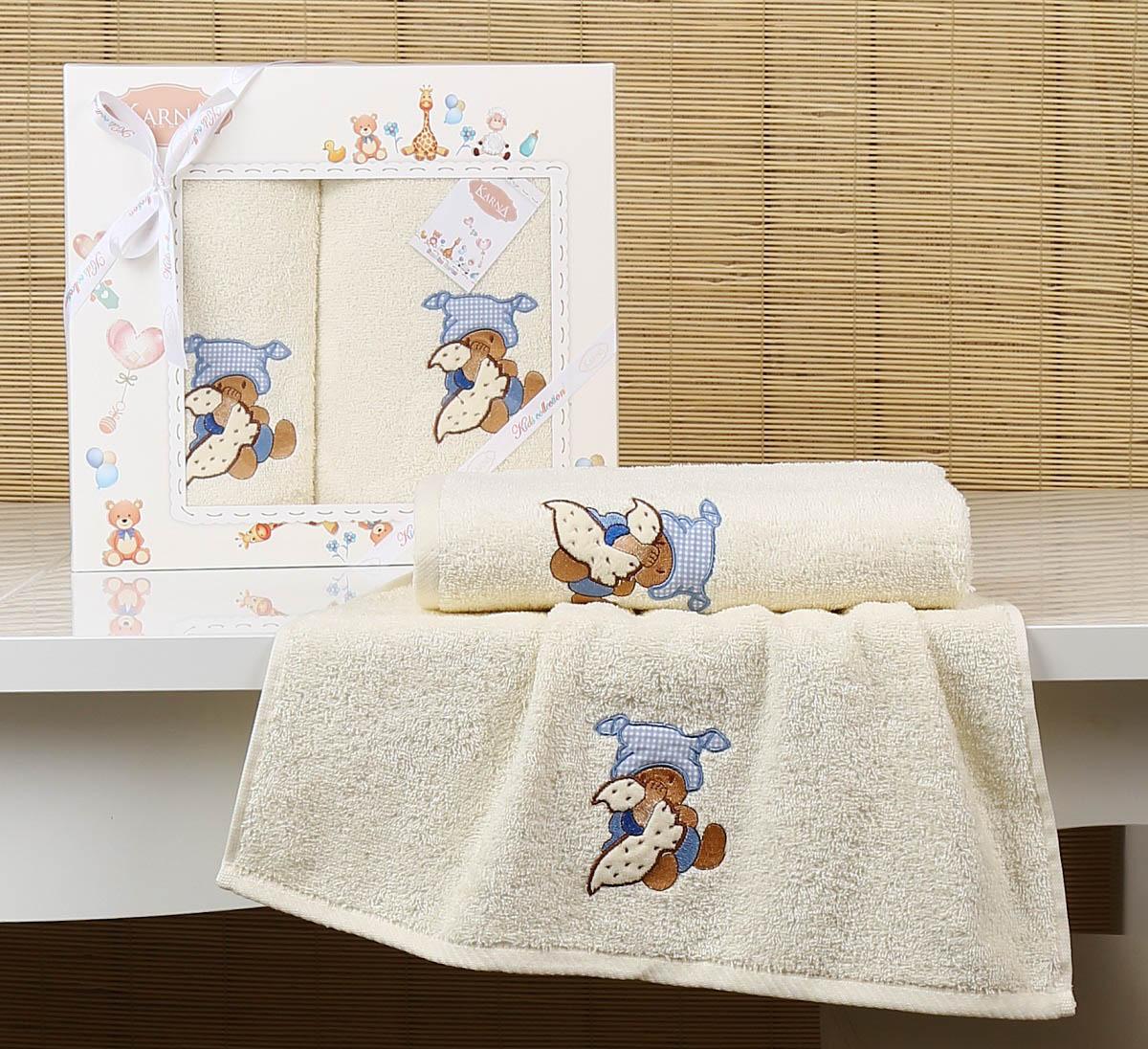 Купить Полотенца Karna, Детское полотенце Teddy Цвет: Кремовый (Набор), Турция, Махра