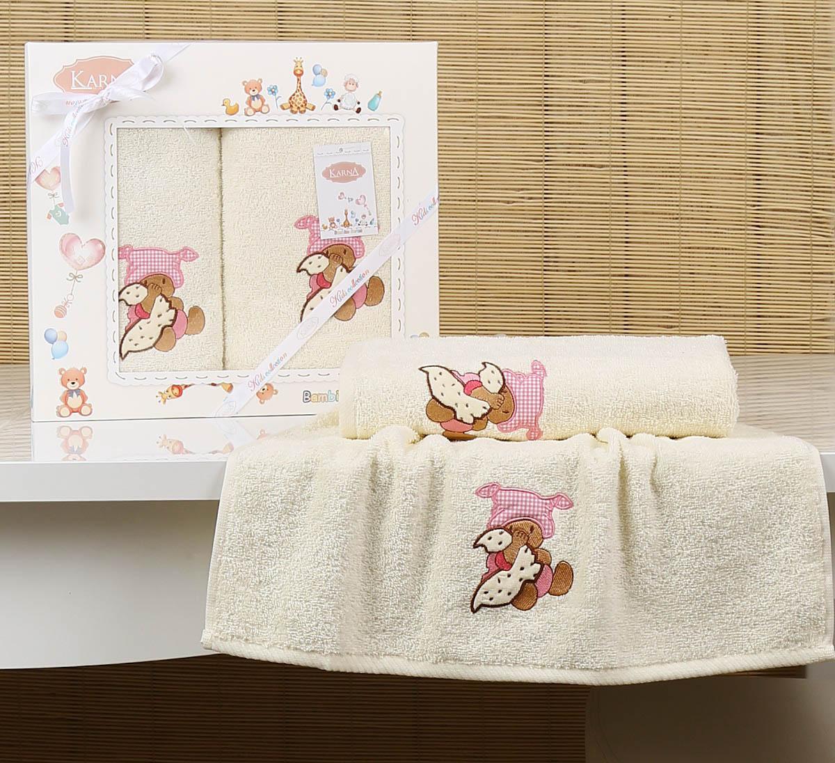 Купить Полотенца Karna, Детское полотенце Teddy Цвет: Mолочный (Набор), Турция, Бежевый, Махра