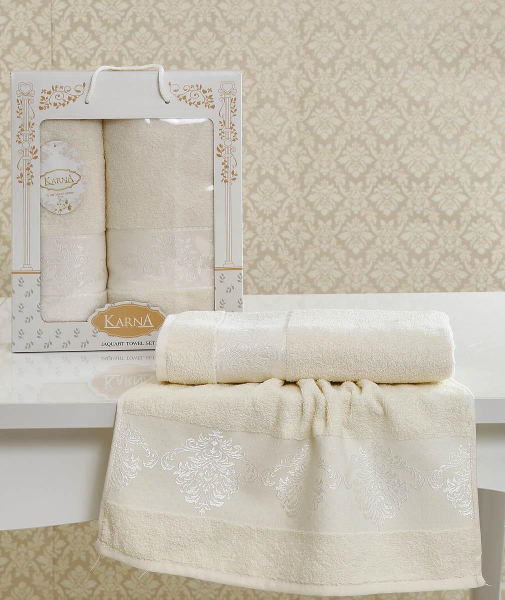 Полотенца Karna Полотенце Lauren Цвет: Кремовый (Набор) полотенца karna полотенце petek цвет кремовый синий набор
