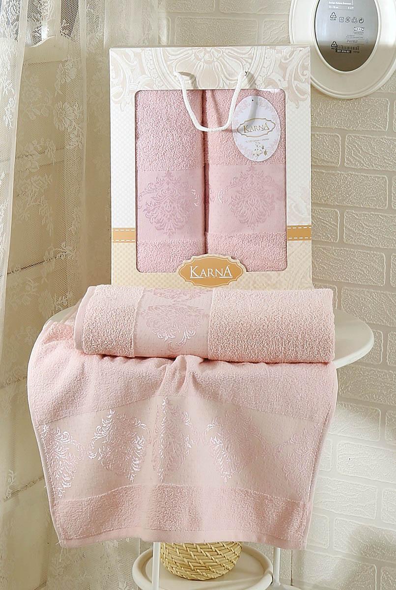 Полотенца Karna Полотенце Dora Цвет: Светло-Розовый (Набор) полотенце karna dora 70x140 см 2189 char003