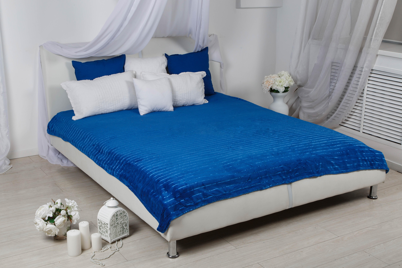 Пледы и покрывала HONGDA TEXTILE Плед Махровое Чудо Цвет: Синий (Широкая Полоса) (180х200 см) плед hongda уют 1 5x2m beige 867112