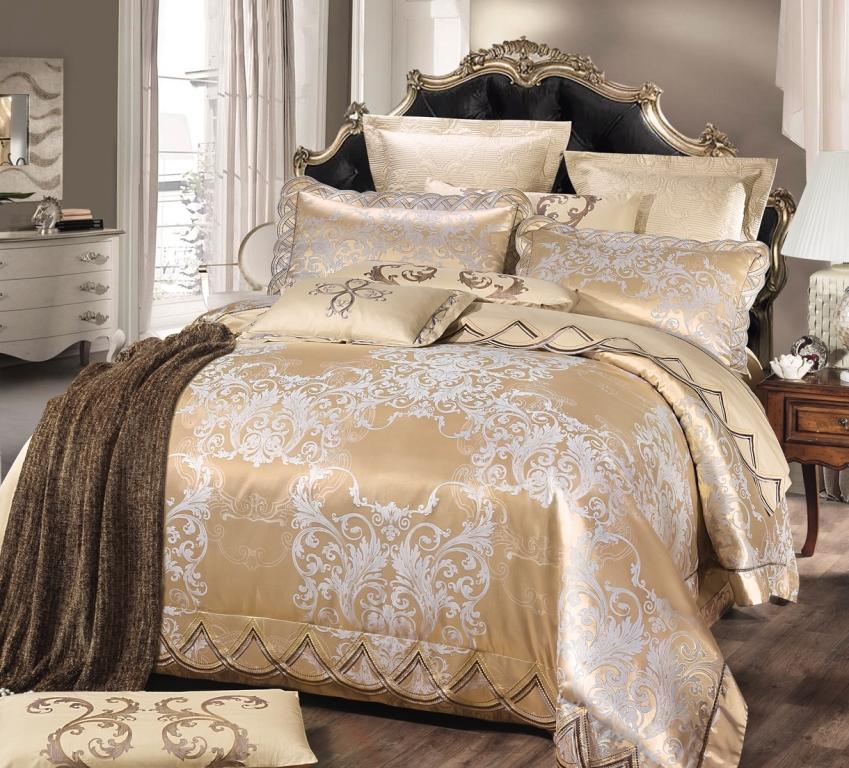 Купить Комплекты постельного белья Valtery, Постельное белье Vortigern (семейное), Китай, Золотистый, Хлопковый сатин