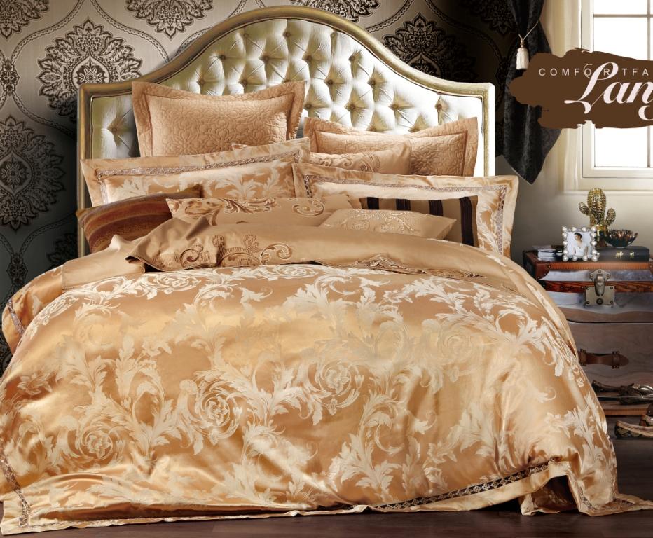 Купить Комплекты постельного белья Valtery, Постельное белье Lawrence (семейное), Китай, Золотой, Хлопковый сатин