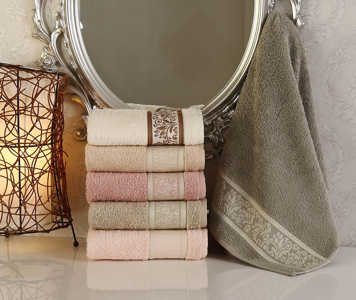 Купить Полотенца Pupilla, Полотенце Viola Dray (50х90 см - 6 шт), Турция, Коричневый, Кремовый, Розовый, Махра