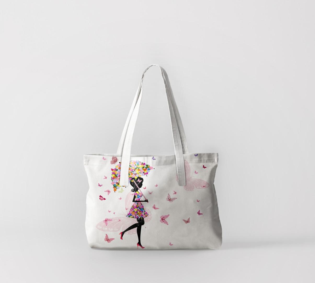 Пляжная сумка Девушки с зонтом из бабочек (50х40 см) Олимп Текстиль oli732565