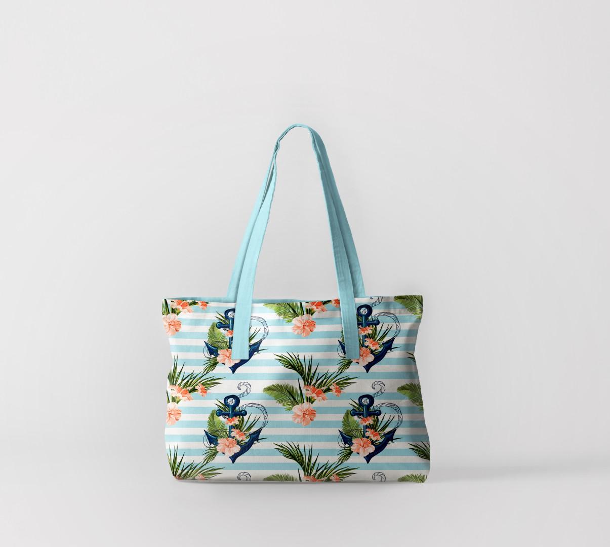 Пляжная сумка Якоря с цветами (50х40 см) Олимп Текстиль oli732614