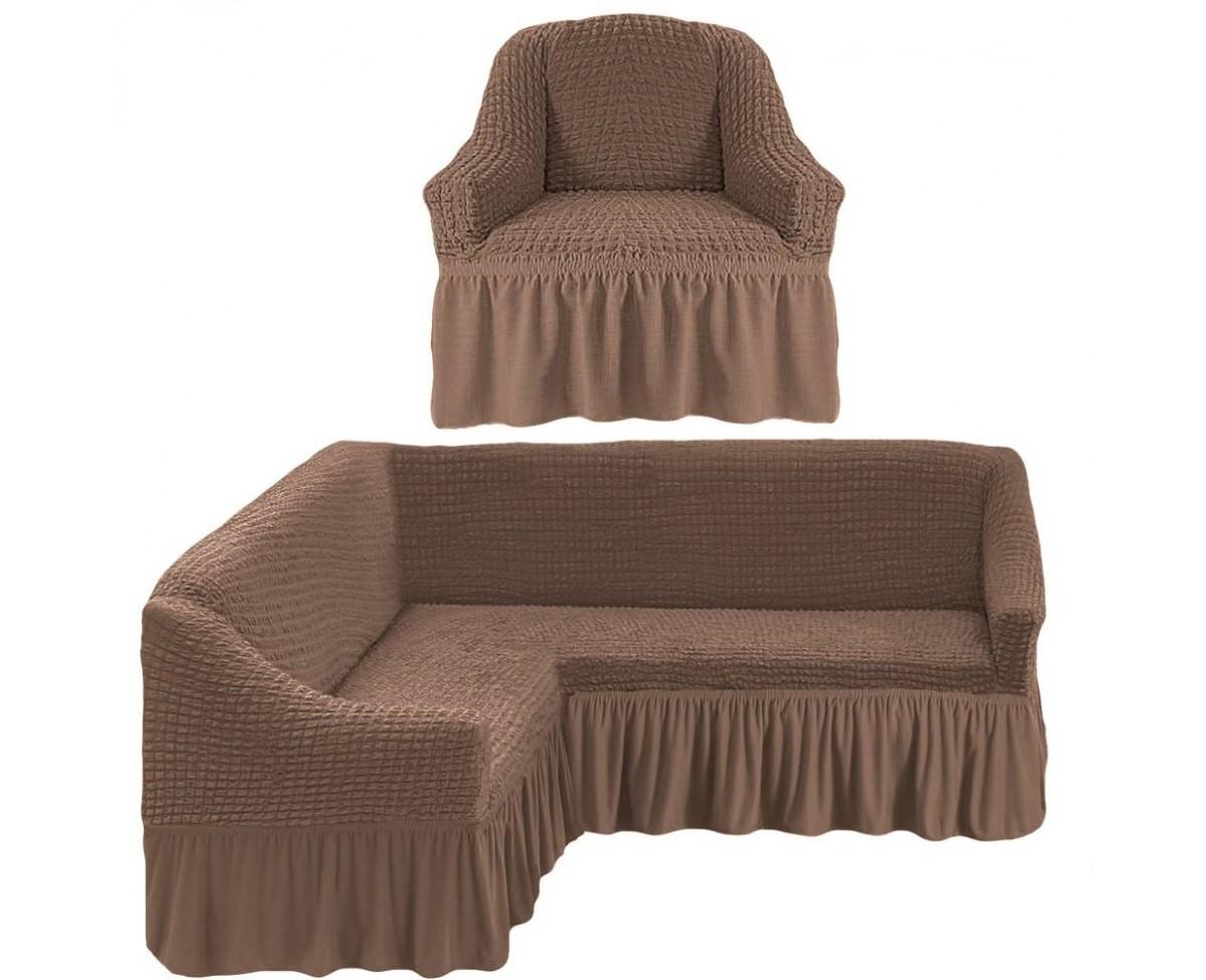 Комплект чехлов на угловой диван и кресло Gomer Цвет: Серо-Коричневый (Одноместный,Трехместный)