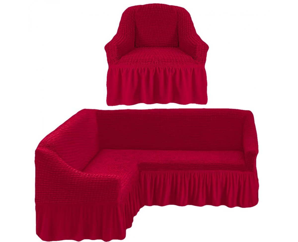 Комплект чехлов на угловой диван (левый угол) и кресло Gomer цвет: бордовый (Одноместный,Трехместный)