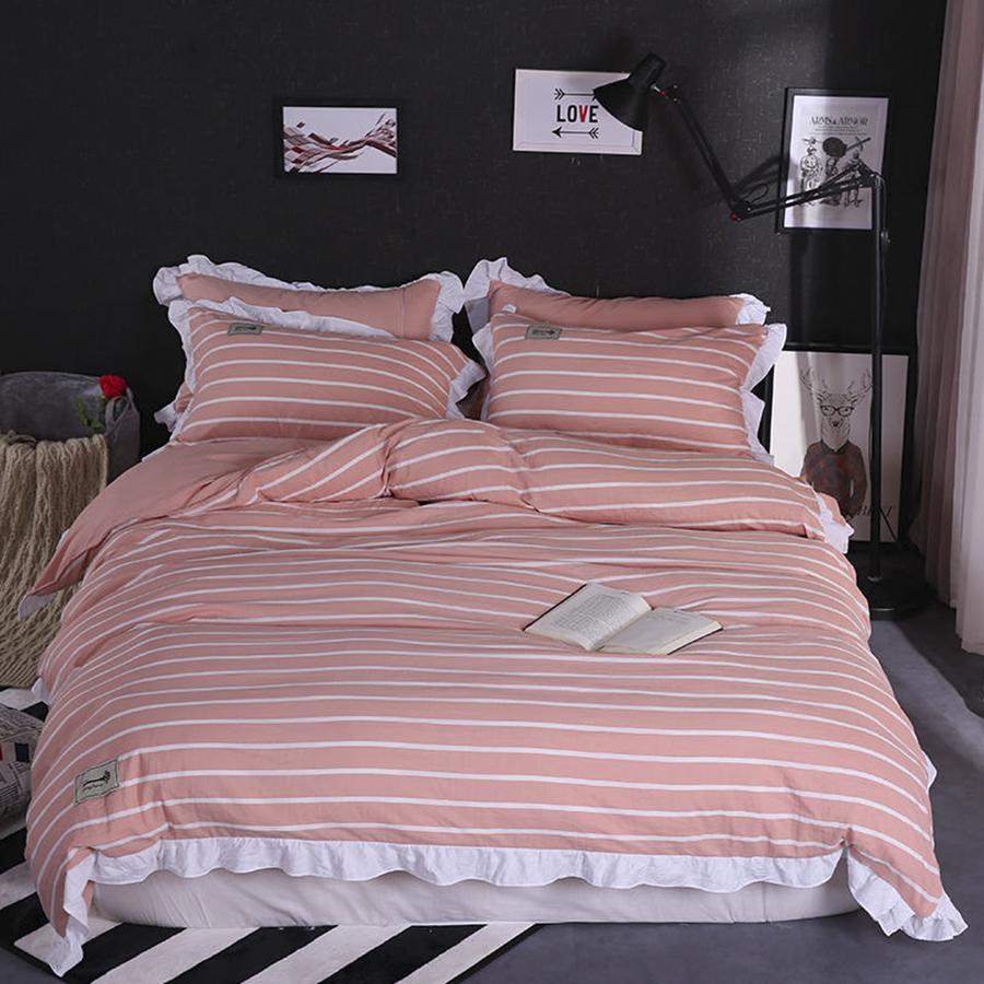 Купить Комплекты постельного белья Green Line, Постельное белье Полоска Цвет: Розовый, Белый (2 сп. евро), Китай, Жатый микрофреш
