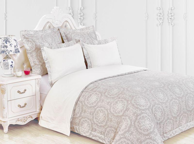 Купить Комплекты постельного белья KAZANOV.A, Постельное белье Бенедикт Цвет: Бежевый (семейное), Китай, Хлопковый сатин