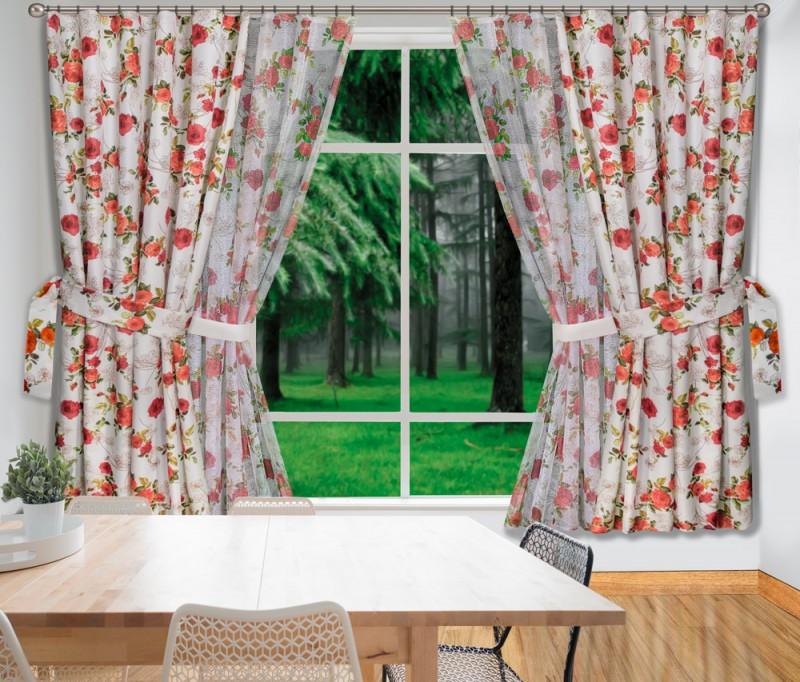 Купить Шторы Wisan, Классические шторы Терракотовые Розы, Польша, Тефлон