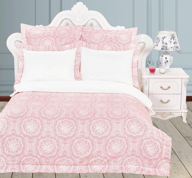 Купить Комплекты постельного белья KAZANOV.A, Постельное белье Бенедикт Цвет: Белый, Розовый (2 сп. евро), Китай, Хлопковый сатин