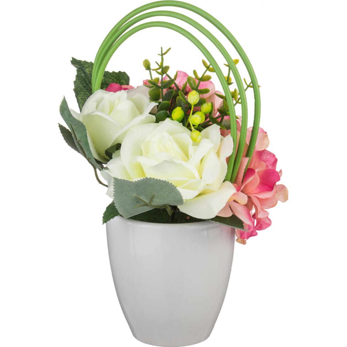 Купить Искусственные растения Arti-M, Букет из искусственных цветов Brook (25 см), Китай, Желтый, Розовый, Полиэстер