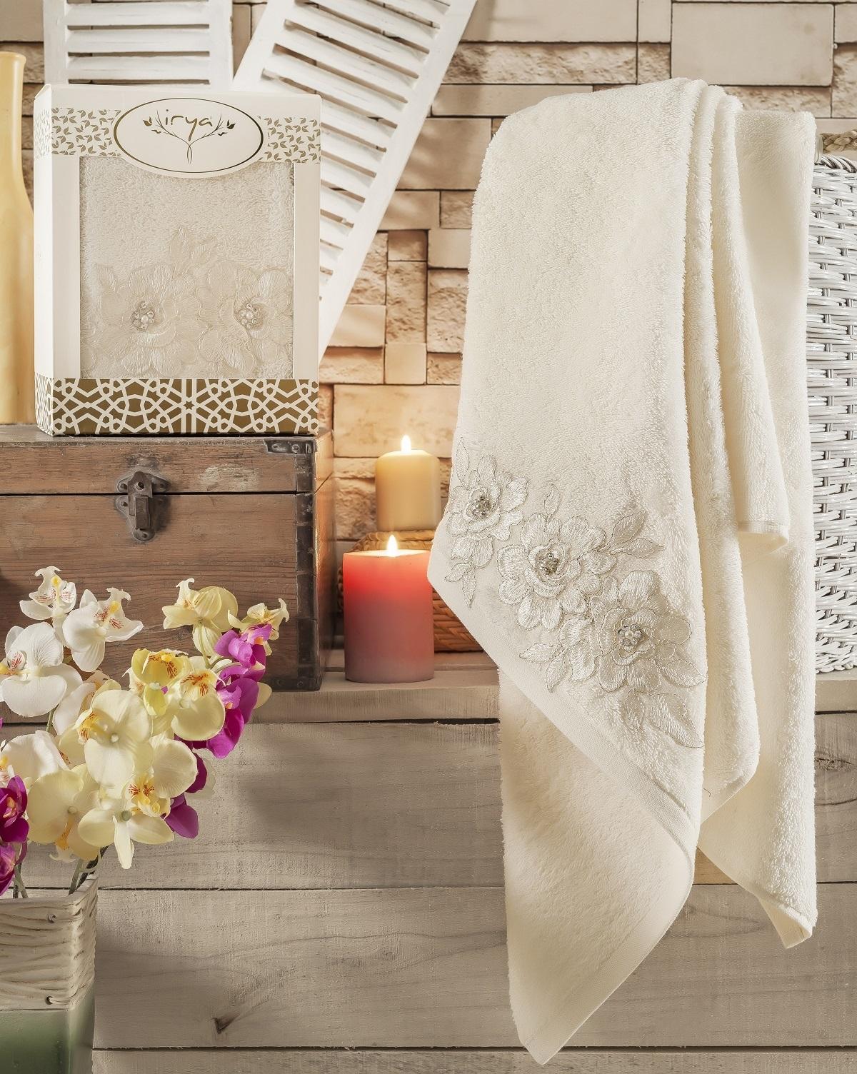 Купить Полотенца IRYA, Полотенце Romantic Цвет: Кремовый (85х150 см), Турция, Махра