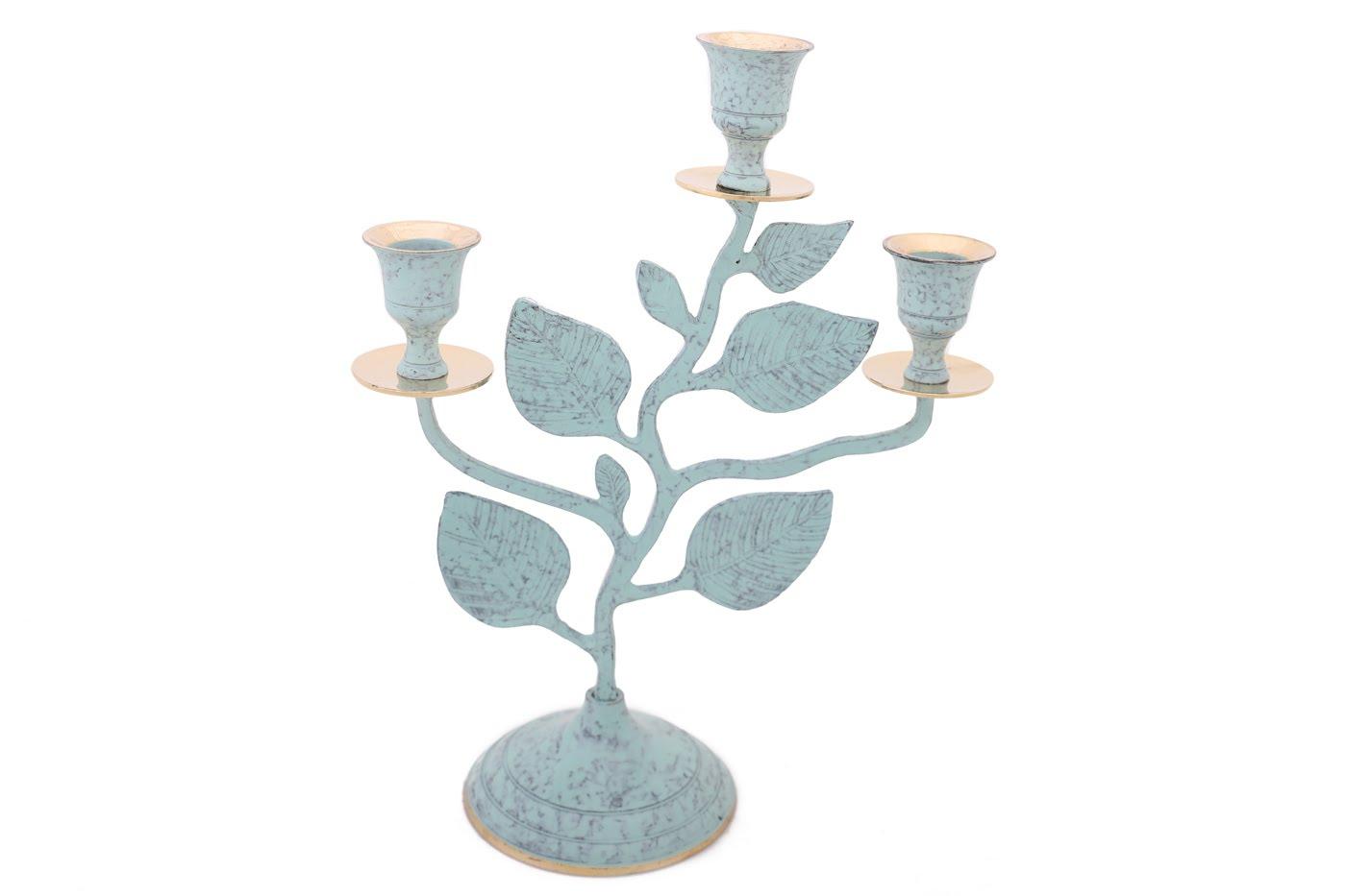 Купить Декоративные свечи Ганг, Подсвечник Clements Цвет: Зеленый, Золотой (9х20х26 см), Индия, Латунь