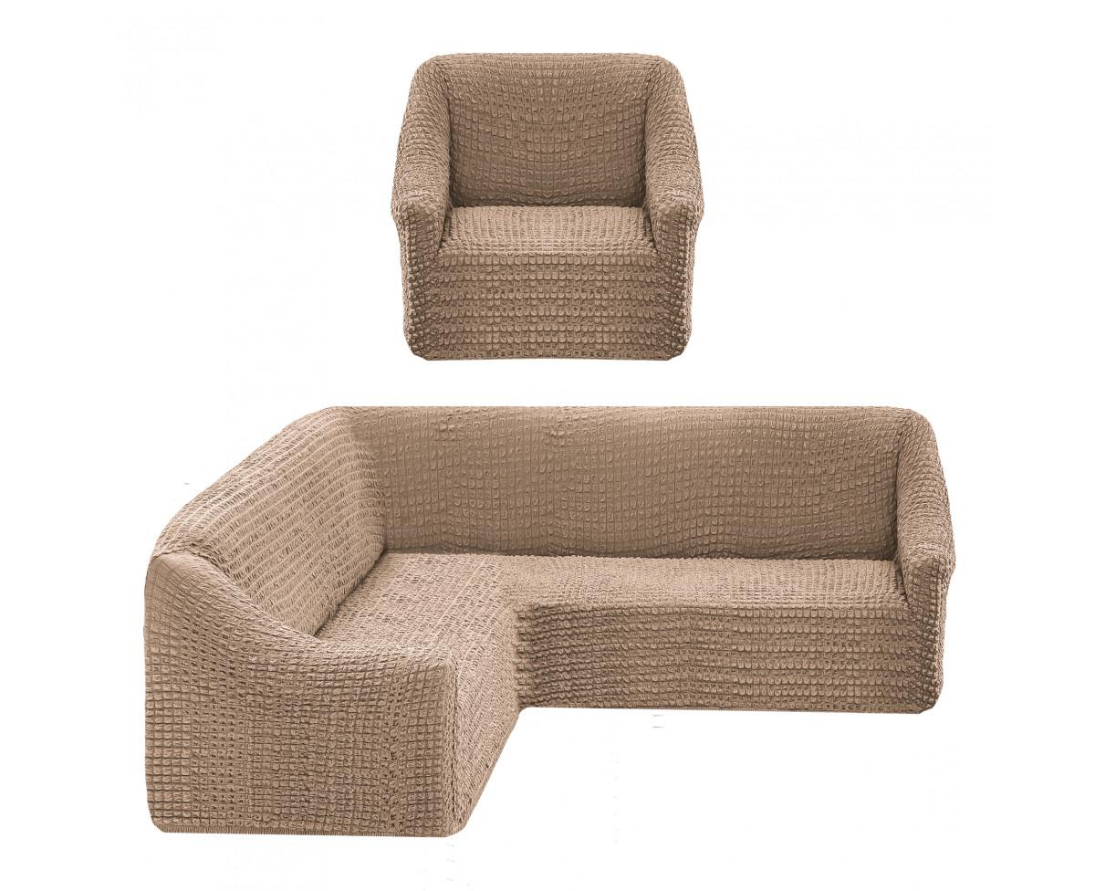 Комплект чехлов на угловой диван и кресло Echo Цвет: Молочный (Одноместный,Трехместный)