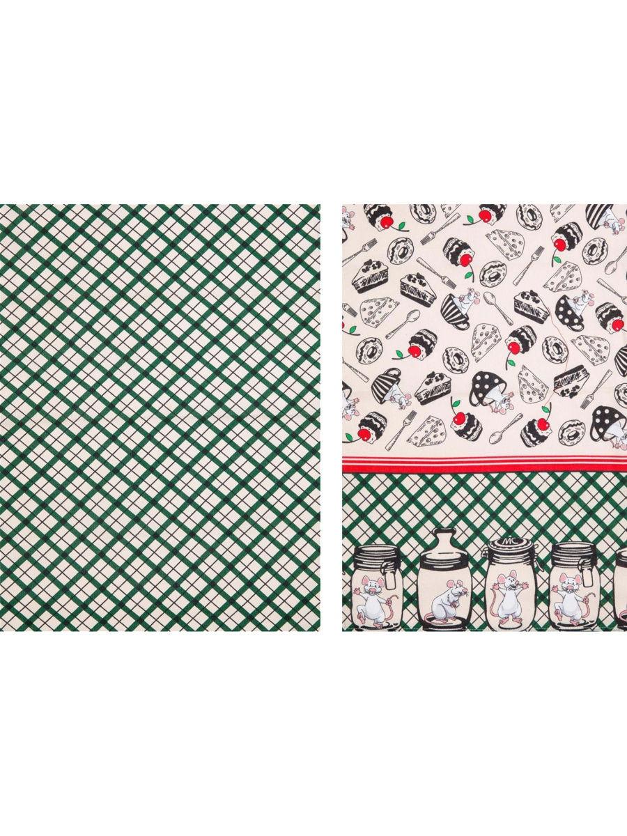 Кухонное полотенце Мыши в банках и клетка цвет: зеленый (45х73 см - 2 шт)
