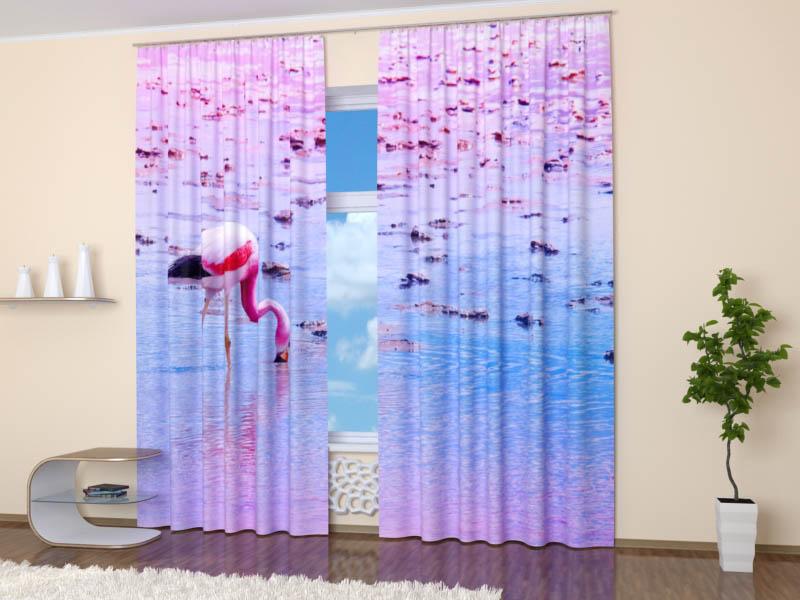 Шторы StickButik Фотошторы Одинокий Фламинго