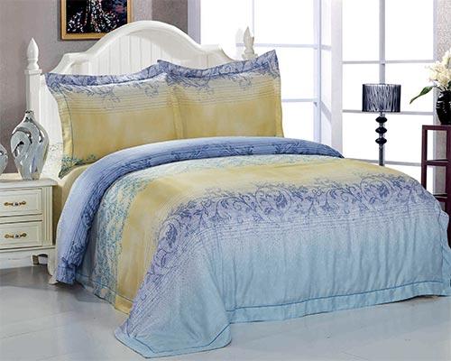 Купить Комплекты постельного белья SL, Постельное белье Meryle (2 сп. евро), Китай, Голубой, Желтый, Модал