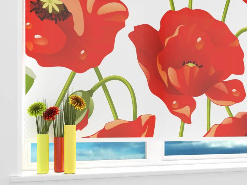 Римские и рулонные шторы StickButik Рулонные шторы Красные Бутончики