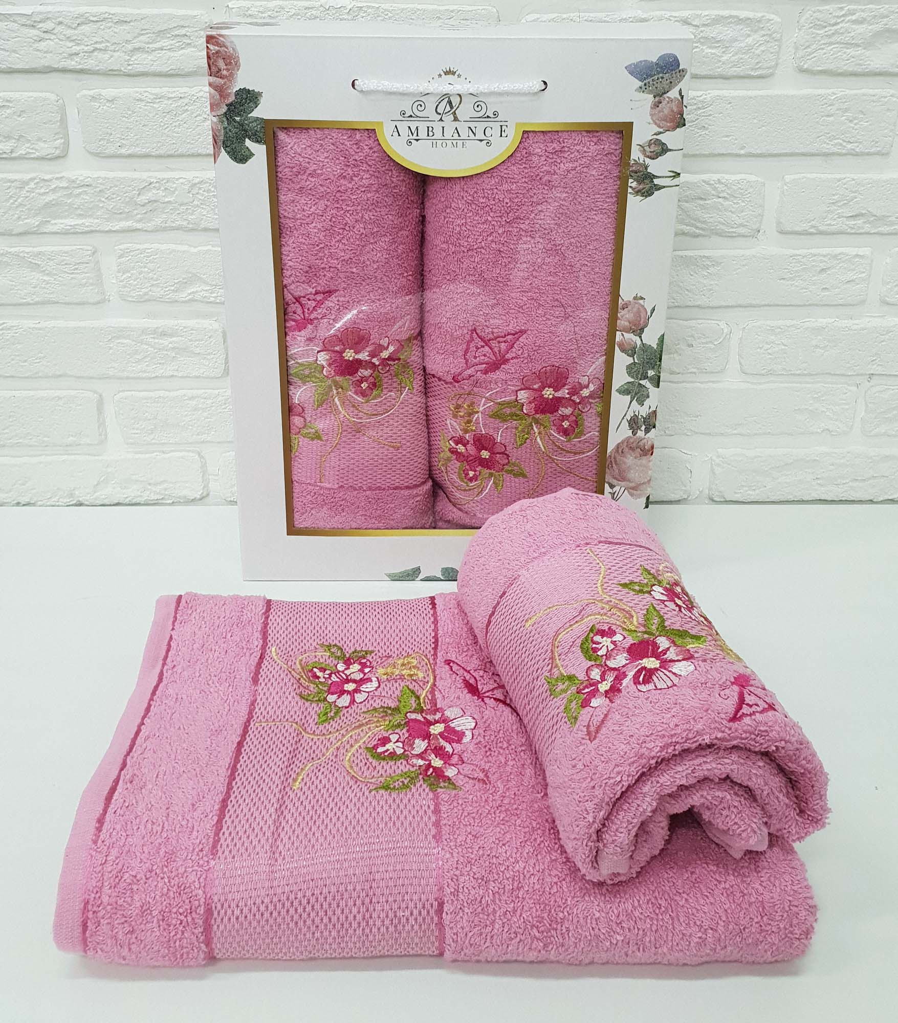Набор полотенец August Цвет: Розовый (50х90 см,70х140 см)