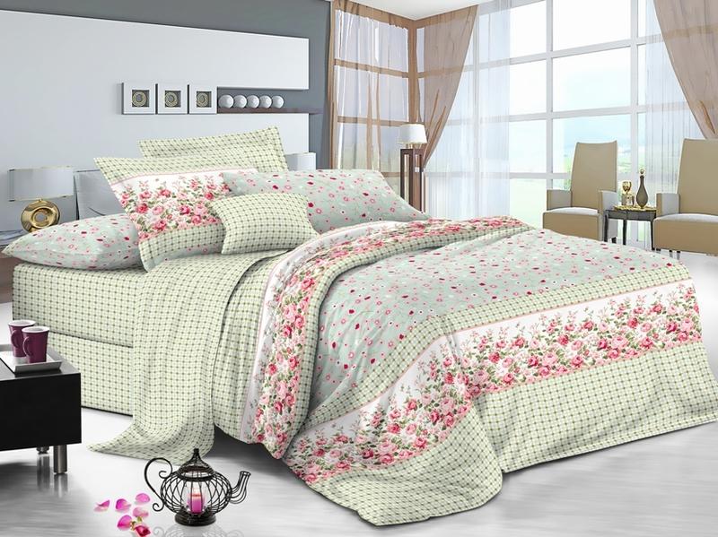 Купить Комплекты постельного белья Примавера, Постельное белье Gus (2 спал.), Китай, Зеленый, Розовый, Хлопковый сатин