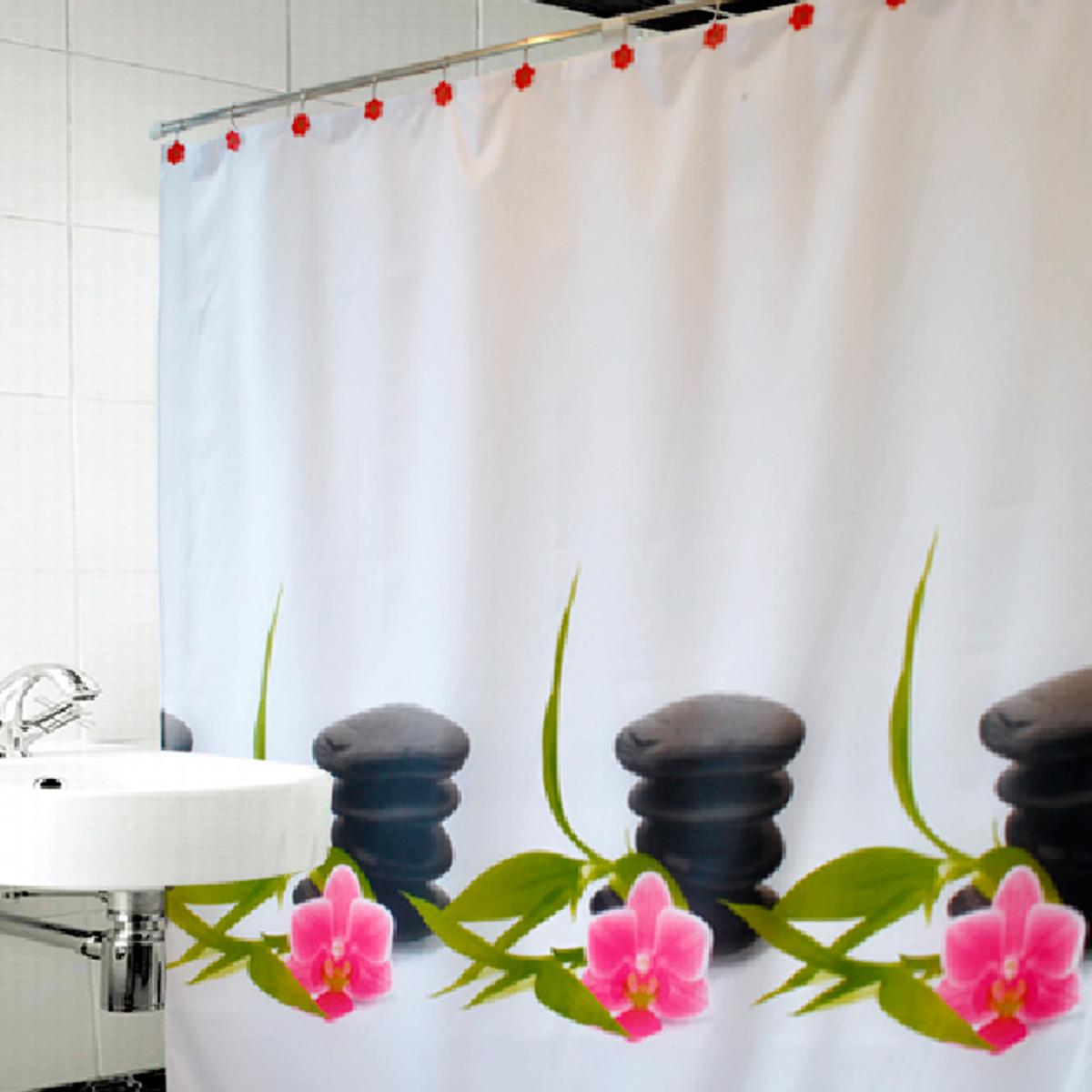 Купить Шторы и карнизы Arya, Шторы для ванной Zen, Турция, Белый, Розовый, Черный, Полиэстер
