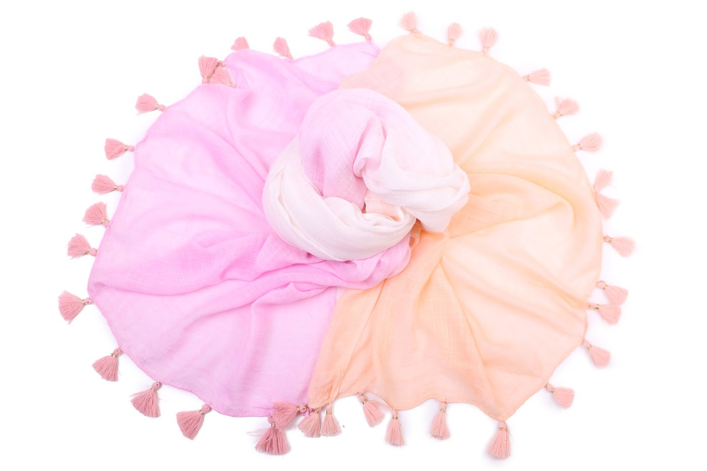 Накидка-палантин Kristia Цвет: Белый, Розовый, Желтый (100х180 см) фото
