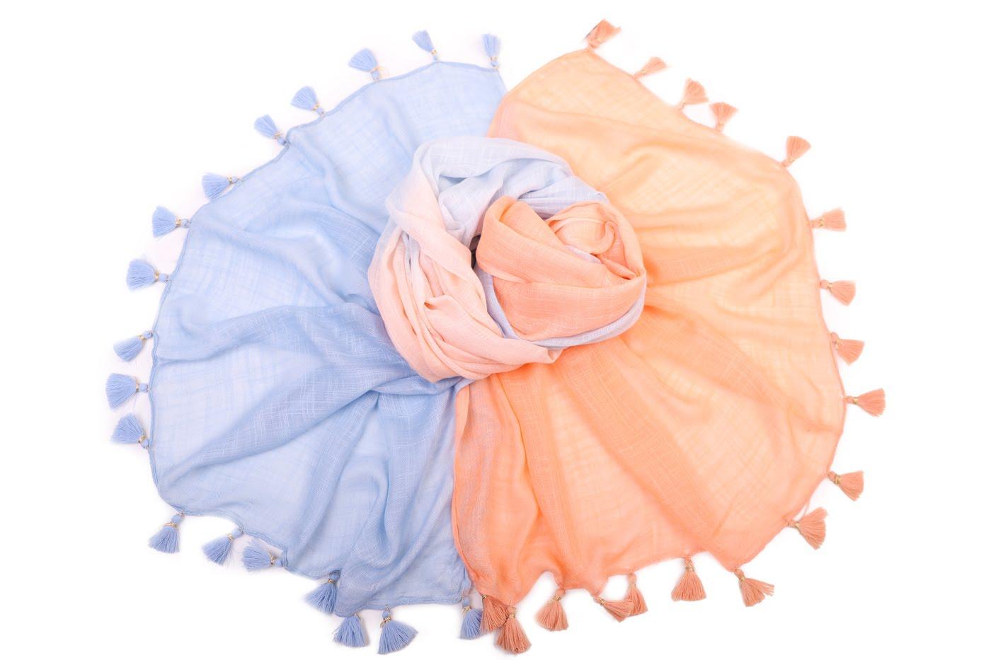 Накидка-палантин Merideth Цвет: Белый, Голубой, Оранжевый (100х180 см) фото